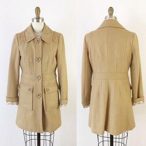 Modcloth Brown Tan Wool Pea Coat XS Tulle P670